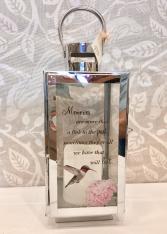 Hummingbird Silver Lantern optional Flowers