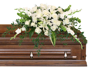 Hushed Goodbye Casket Spray in Galveston, TX | THE GALVESTON FLOWER COMPANY
