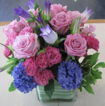 Hyacinths and roses Flower arrangement