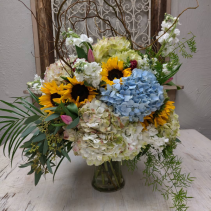 Hydrangea and Sunflowers Vase