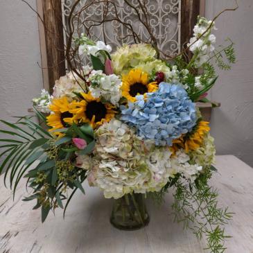 Hydrangea and Sunflowers Vase