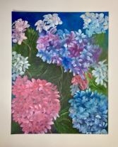 Hydrangea Blossoms  Acrylic on Canvas Board