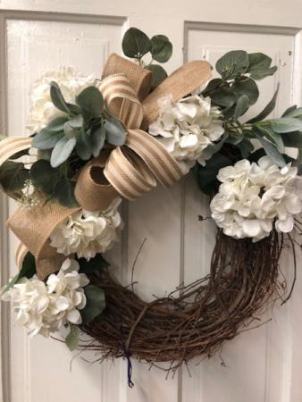 Hydrangea Burlap wreath