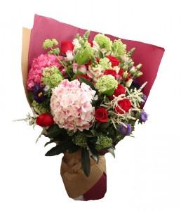 Hydrangea mix cut flowers bouquet  Presentation style bouquet