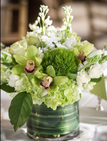 Hydrangea & orchid blossoms  Vase