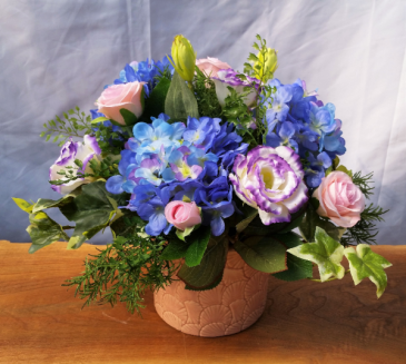 Silk Hydrangea, Rose, and Lisianthus Silk Arrangement