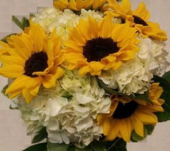 Hydrangea Sunflower Supreme Bridal Bouquet - Handtied