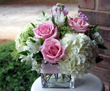Hydrangeas And Roses Compact Arrangement In Indianapolis In