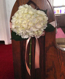 Hydrangeas in White Pew Hanger