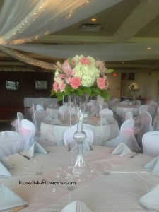 Hygrangeas & Roses Tall Reception Centerpieces in Whitesboro, NY | KOWALSKI FLOWERS INC.