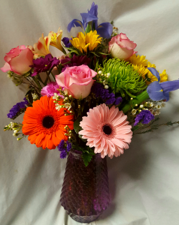 """Garden Delight"" Colorful flowers arranged in a  vase!"