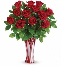 I ADORE YOU BOUQUET FREEDOM RED ROSES IN ART GLASS VASE