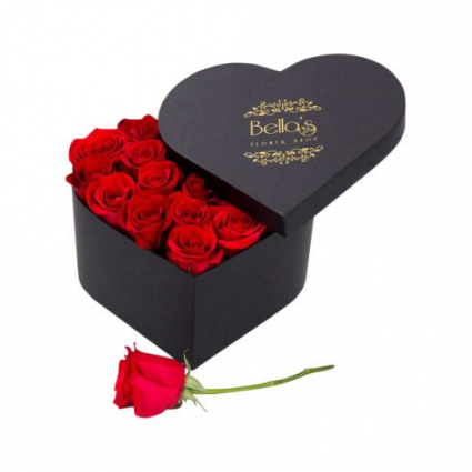 I heart U Box 25 Long Stem Red Roses