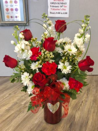 I Heart You  Glass Heart Vase