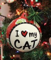 I Love My Cat Glass Ornament