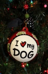 I Love My Dog Glass Ornament