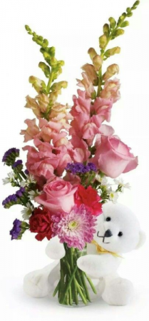 I Love You Arrangement Flower Vase Teddy Bear Maybe a Brown Bear