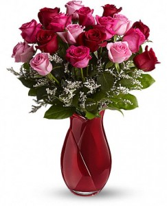 """Exclusively at Flowers Today Florist """" Art Glass Vase 10' Tall"""" with 18 Pink & Red Roses in New Port Richey, FL 