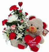 I Love You Bear Basket Arrangement