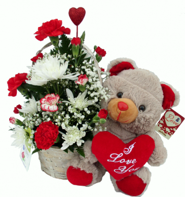 I Love You Bear Basket Arrangement