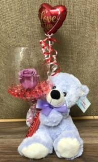 "I love you ""beary"" much Rose in a large wine glass"