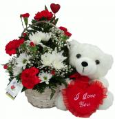I Love You White Bear  Basket Arrangement