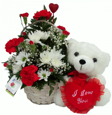 I Love You White Bear  Basket Arrangement