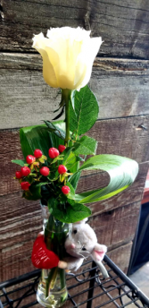 I love you mouse with single rose