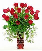I love you my love!!! 24 Red roses with red vase in Denver, CO | Secret Garden