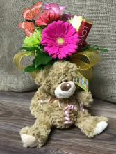 I love you Plush bear and flower arrangement