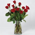I Love You  12 roses in vase