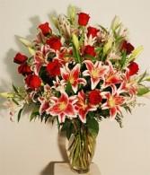Roses & Stargazer Lilies One Dozen Long Stem  Roses & Star Gazer Lilies