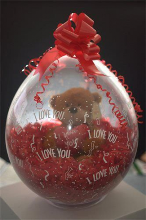 I love you Stuffed Balloon with Bear