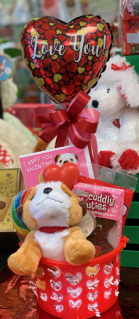 "I ""Ruff you"" Candy Bouquet  Plush, candy and a balloon"