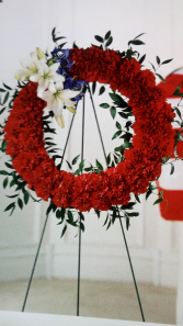 Iarge red carnations wreath A40