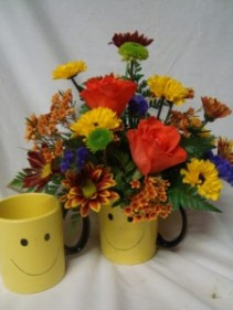 """Fall Happy Face"" Roses with fall daisies! Congratulations, Cheer up, Get well Soon!(ROSES MAY BE ORANGE OR RED)"