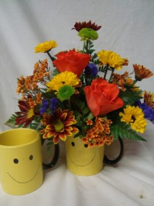 """""""Fall Happy Face"""" Roses with fall daisies! Congratulations, Cheer up, Get well Soon!(ROSES MAY BE ORANGE OR RED)"""