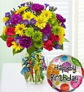 Mixed Bright color flowers in a vase with a  Happy Birthday Balloon included.