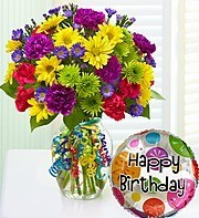 """BIRTHDAY POP OF COLOR BOUQUET"" Mixed  flowers bright with a Happy Birthday Balloon included."