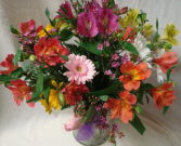 """I LOVE LILIES"" Vase arrangement of mostly   alstroemeria lilies, filler, daisies!"