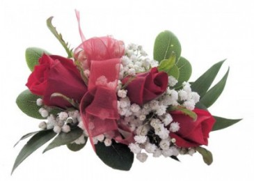 3 red sweetheart roses with baby's breath with a  wristband and red ribbon or choose your own color ribbon