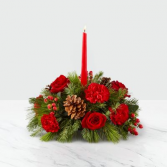 I'll Be Home for Christmas Candle Centerpiece Fresh Flower Centerpiece