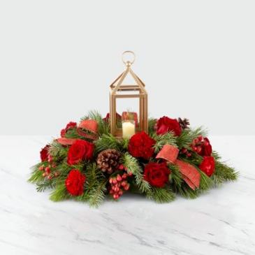 I'll Be Home for Christmas Lantern Centerpiece Fresh Flower Centerpiece