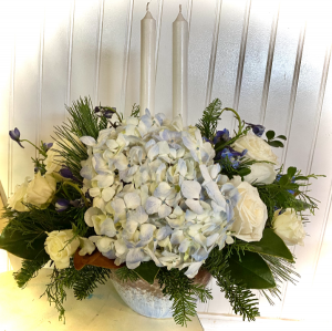 I'll Have A Blue Christmas Without You! Centerpiece in The Woodlands, TX | Loving Grace Flowers