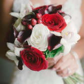 In Burgundy & Whites Bridal Bouquet