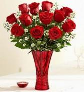 In Love 1 dozen red roses in elegant red vase
