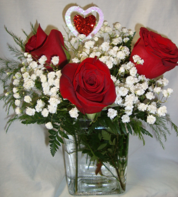 """IN LOVE BOUQUET""  3 RED ROSES WITH BABY'S BREATH and heart pic"