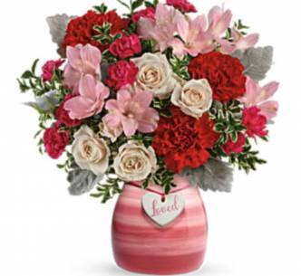 In Love  Keepsake vase filled with fresh flowers