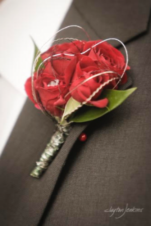 In Love With Red Bout Wedding Boutonnière