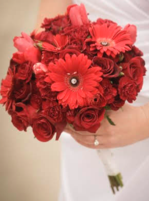 In Love With Red Bridal Bouquet